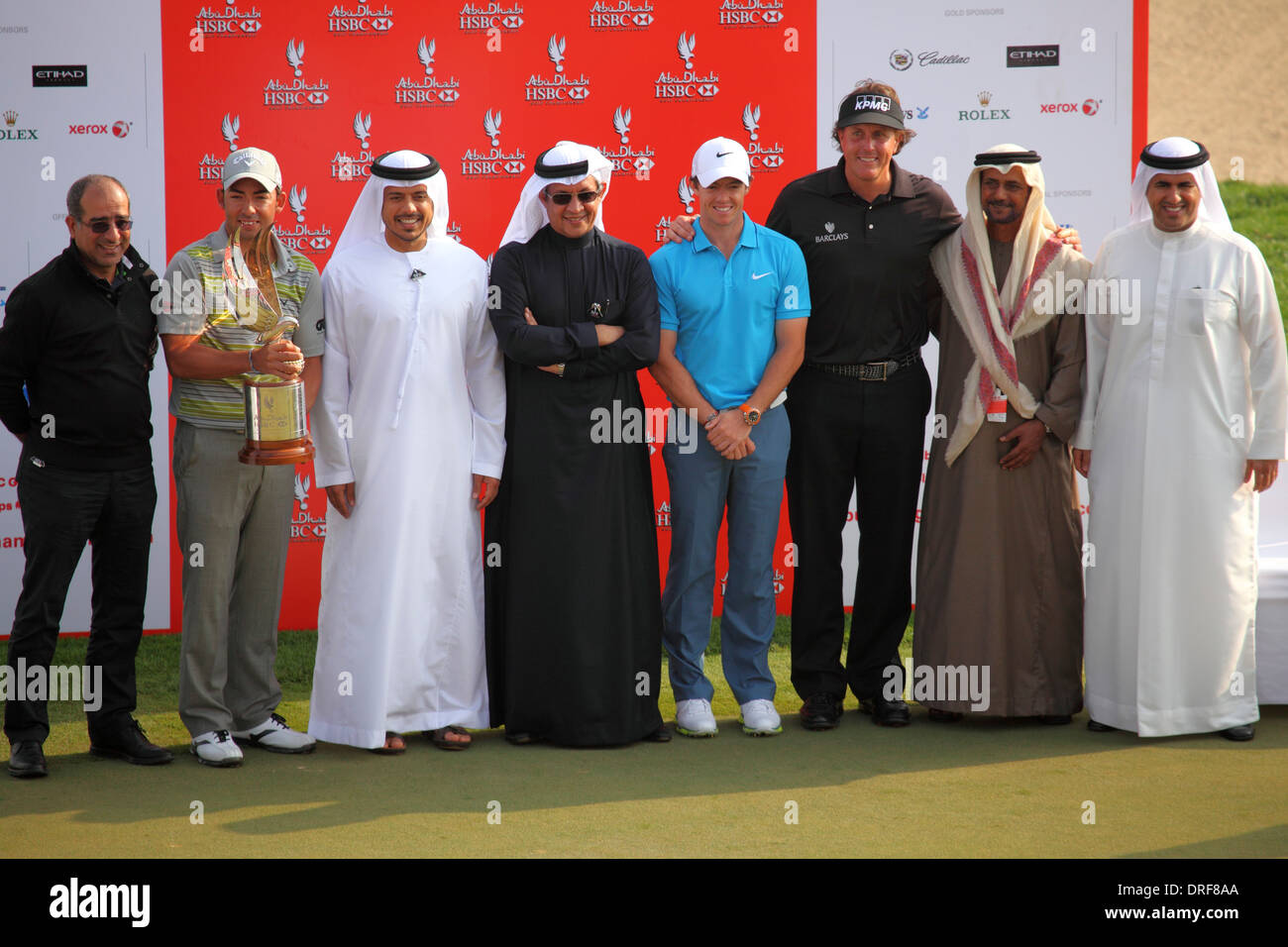 The Awards ceremony at the 2014 Abu Dhabi HSBC Golf Championship. - Stock Image