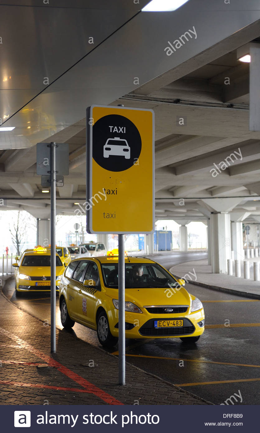 Budapest Hungary Budapest Liszt Ferenc Airport Official Taxi rank. - Stock Image