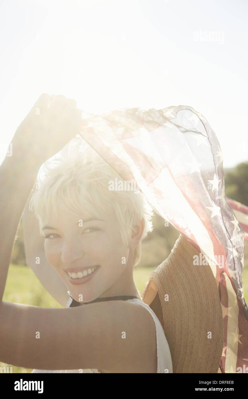 Maryland USA beautiful girl dancing scarves around her head - Stock Image
