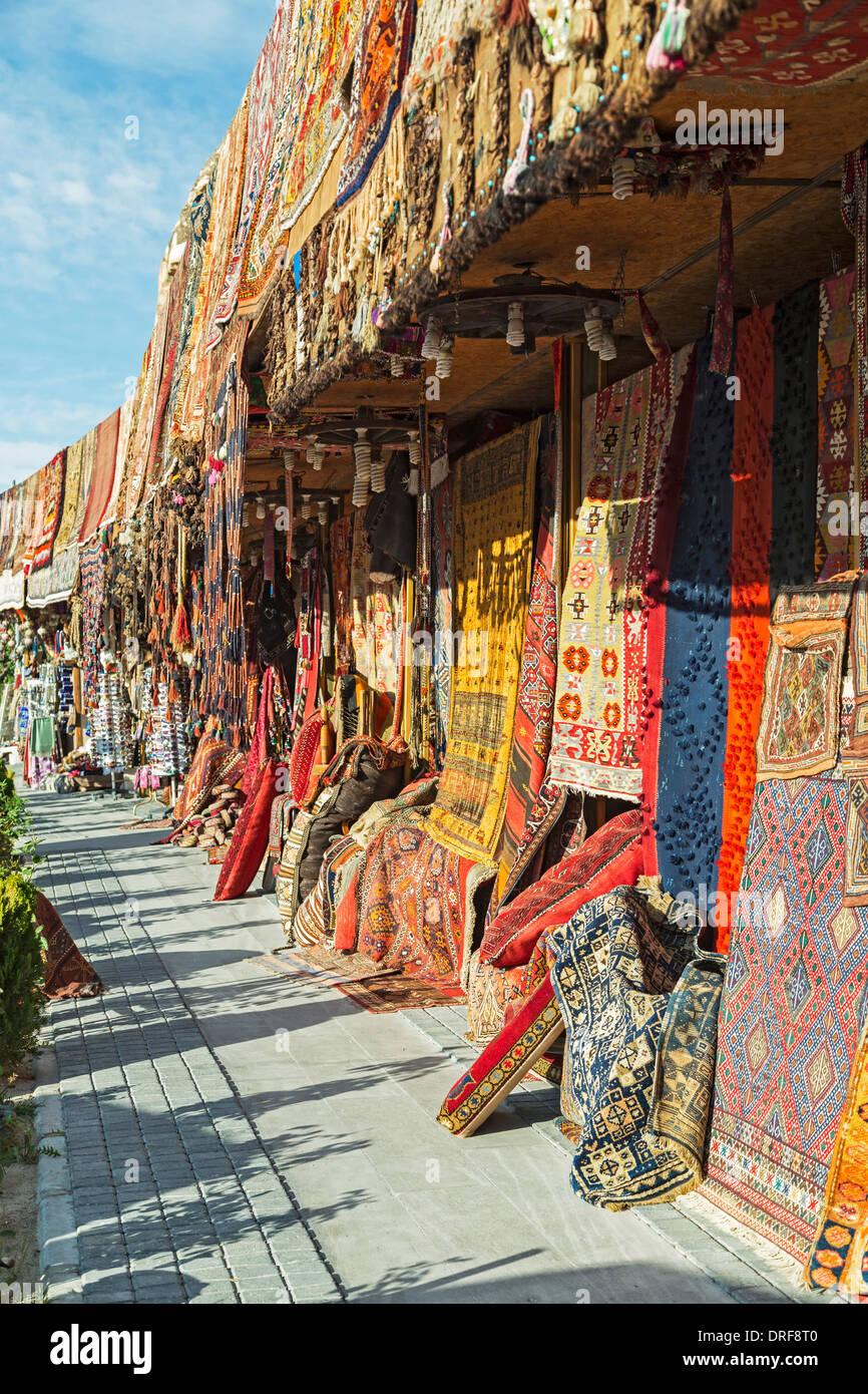 Rug shops, Goreme, Cappadocia, Turkey - Stock Image