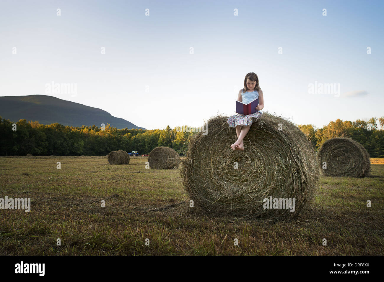 New York state USA hay bales girl sitting on the top of bale Stock Photo