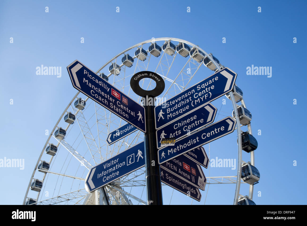 Street sign with different destinations. Locations & Directions,  Oldham Street Multi-Directional_ Piccadilly Tourist Signpost and the Big Ferris Whe - Stock Image