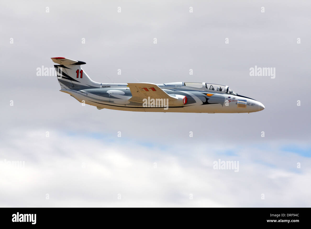 Aero Vodochody L-29 Delfin in flight during a Jet Class heat race as part of the 2010 Reno National Championship Air Races. - Stock Image
