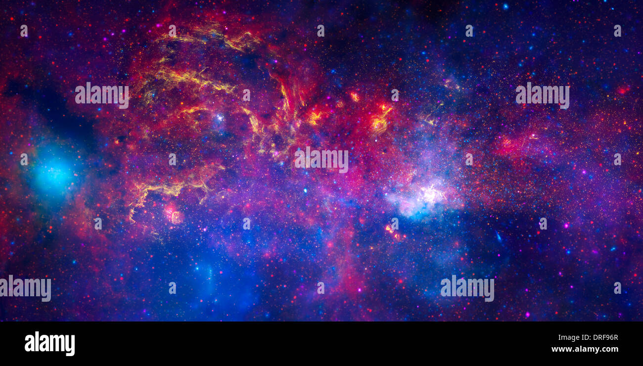 View of the turbulent heart of our Milky Way galaxy provided by the Hubble Space Telescope and its companion Great Observatories - Stock Image