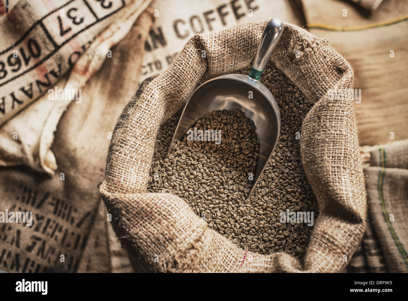 New York state USA Hessian sacks beans coffee bean processing shed Stock Photo