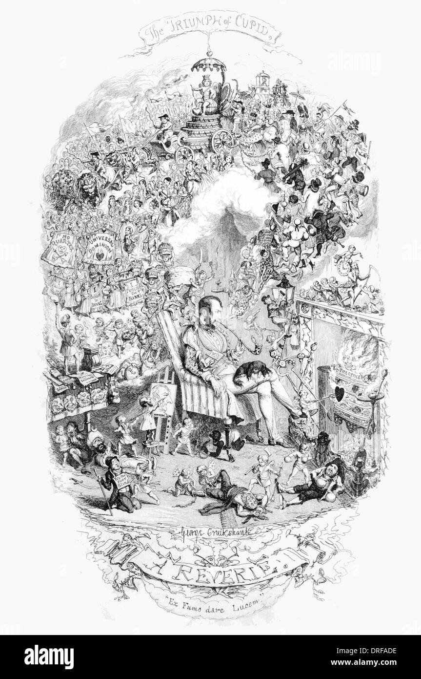 George Cruikshank A reverie Published 1845 steel engraving - Stock Image
