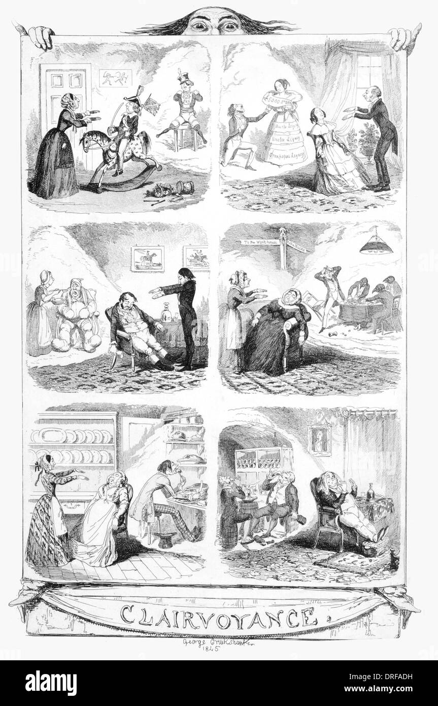 George Cruikshank Clairvoyance 1845 Published 1845 steel engraving - Stock Image
