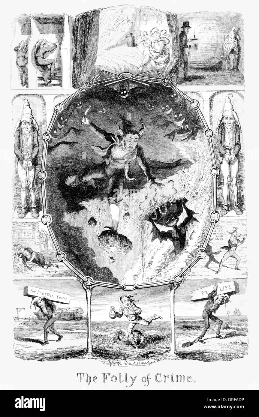 George Cruikshank The folly of Crime Published 1845 steel engraving - Stock Image