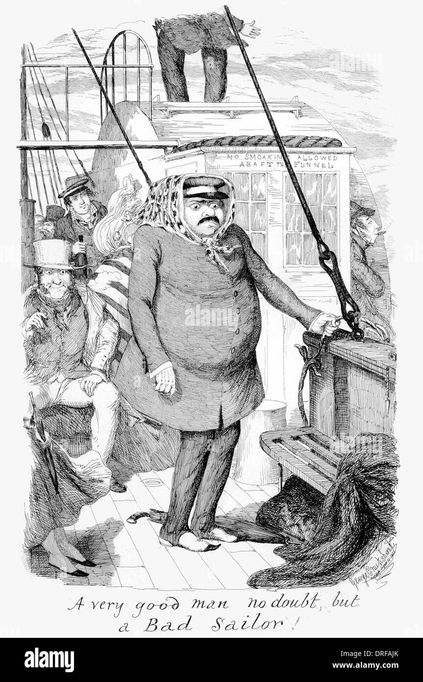 George Cruikshank A very good man no doubt but a bad sailor. First Published 1845 steel engraving - Stock Image