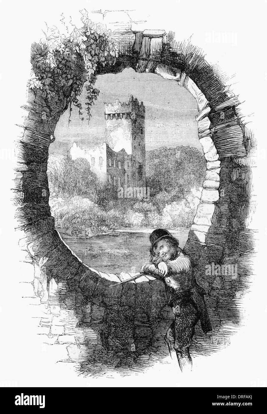 Blarney Castle, County Cork. From the peep hole on the Bridge. Drawn by Mahony circa1854 - Stock Image