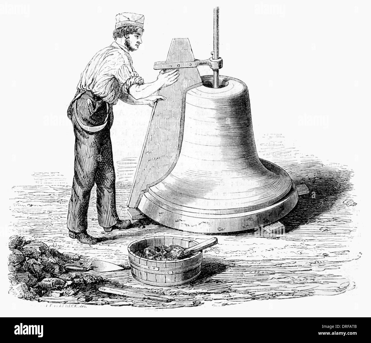 Bell foundry Finishing the Core The Crook circa 1854 - Stock Image