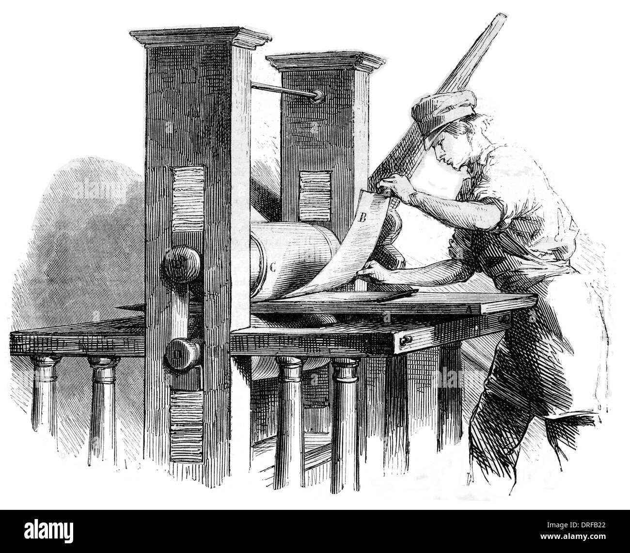 Copperplate Press circa 1854 - Stock Image