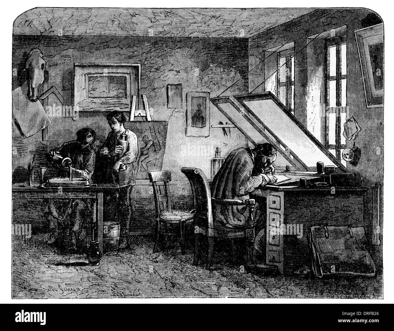 Engravers Workshop circa 1854 - Stock Image