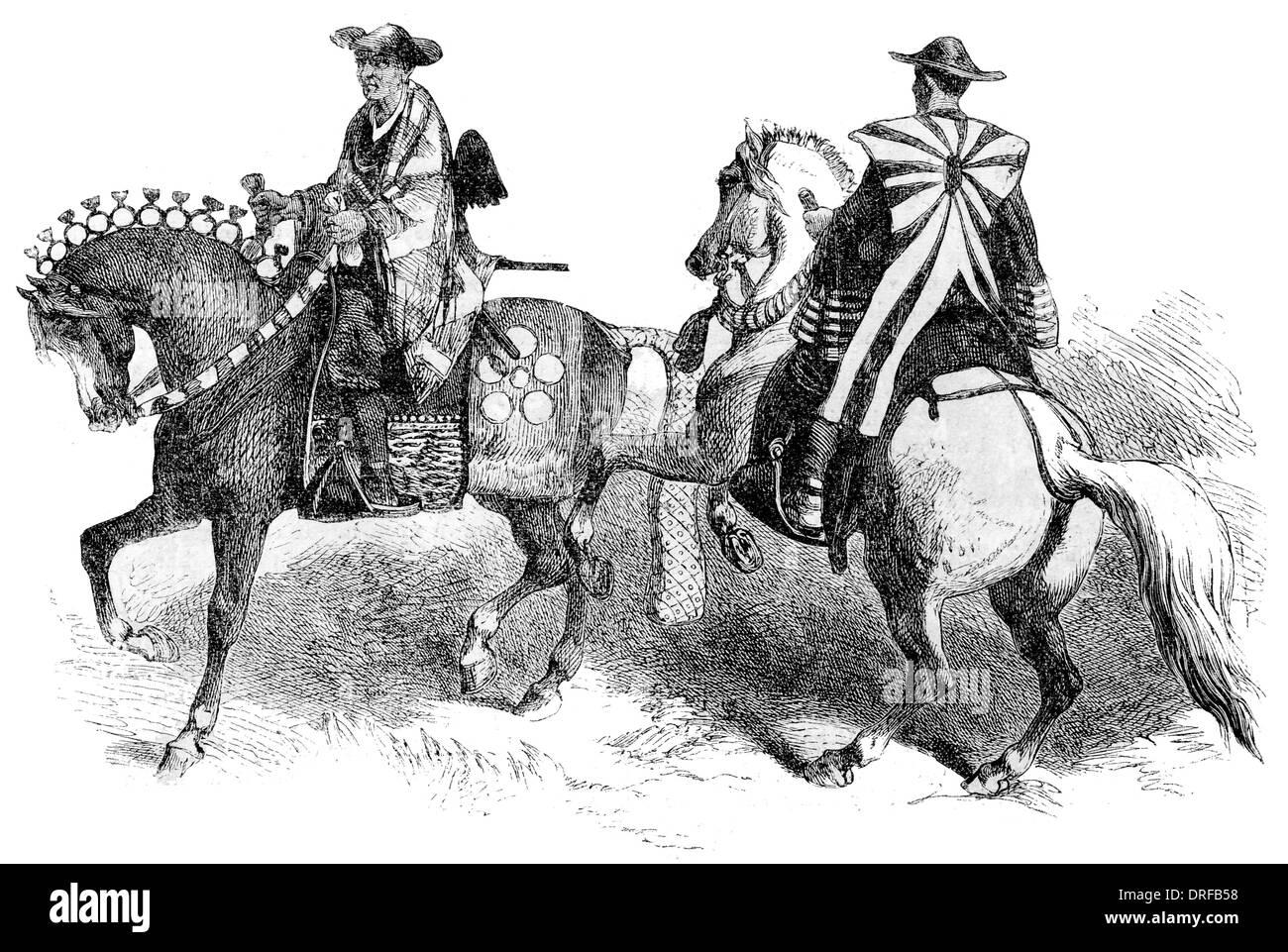 Japanese Cavalry circa 1854 Stock Photo