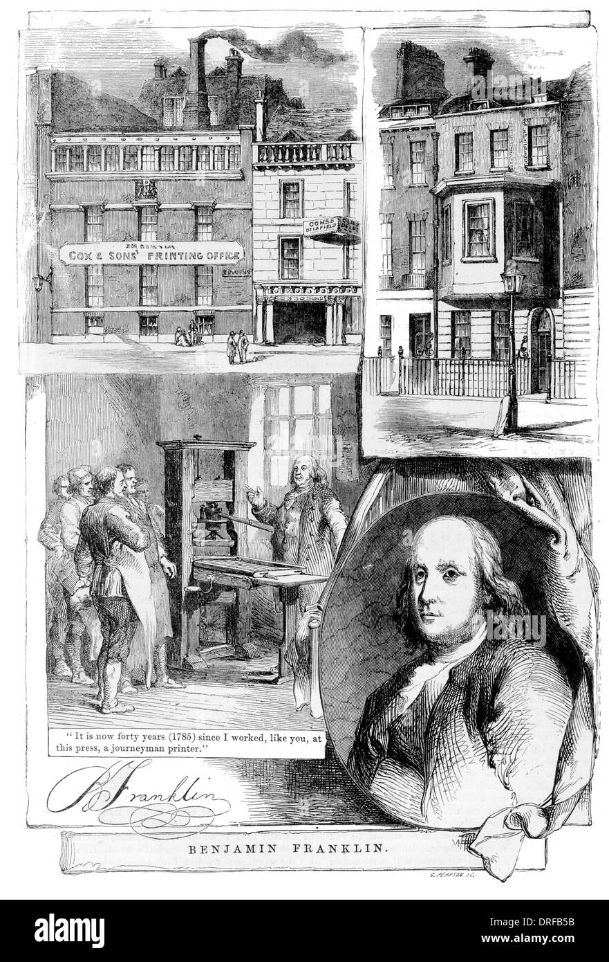 Benjamin Franklin. The printing office Messrs, Cox Brothers, Great Queen Street, Lincoln's Inn Fields. The house he resided in. - Stock Image