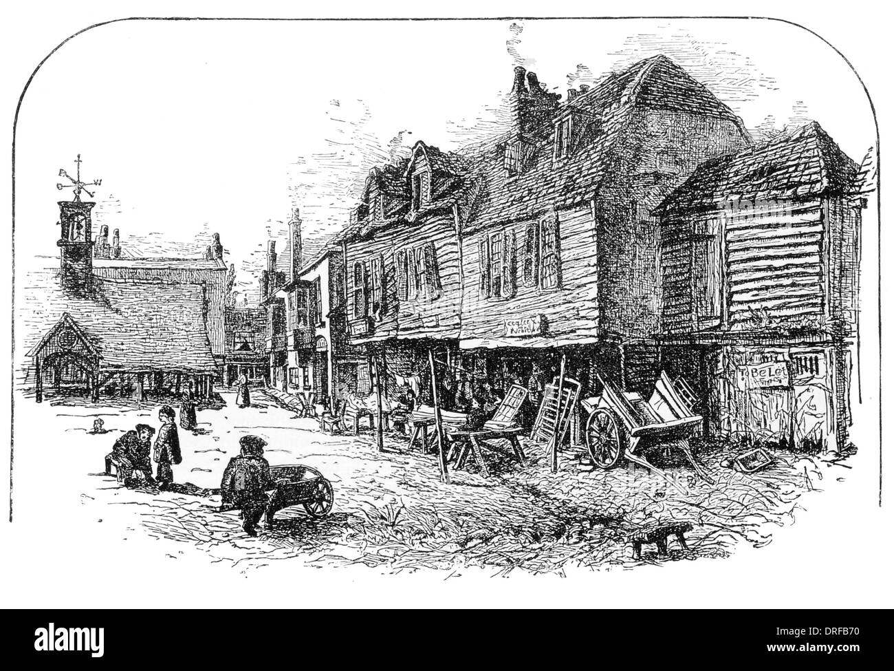 The Stables of the Three Pidgeons Brentford London circa 1880 - Stock Image