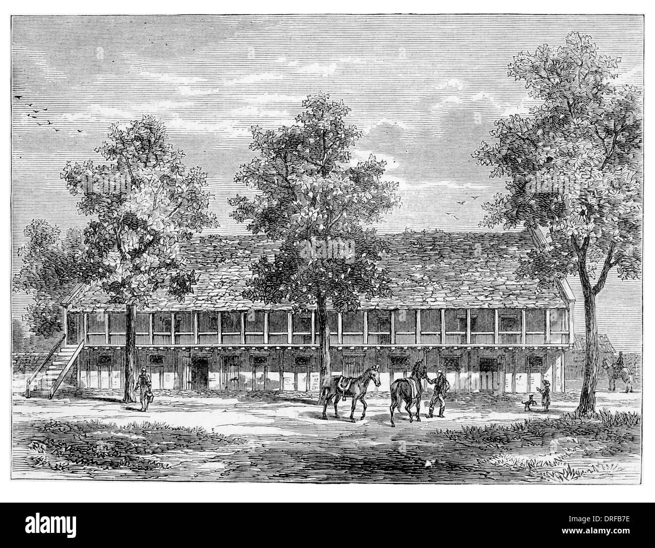 The Old Stables at Sion Syon House From Aungier's History of Isleworth circa 1880 - Stock Image