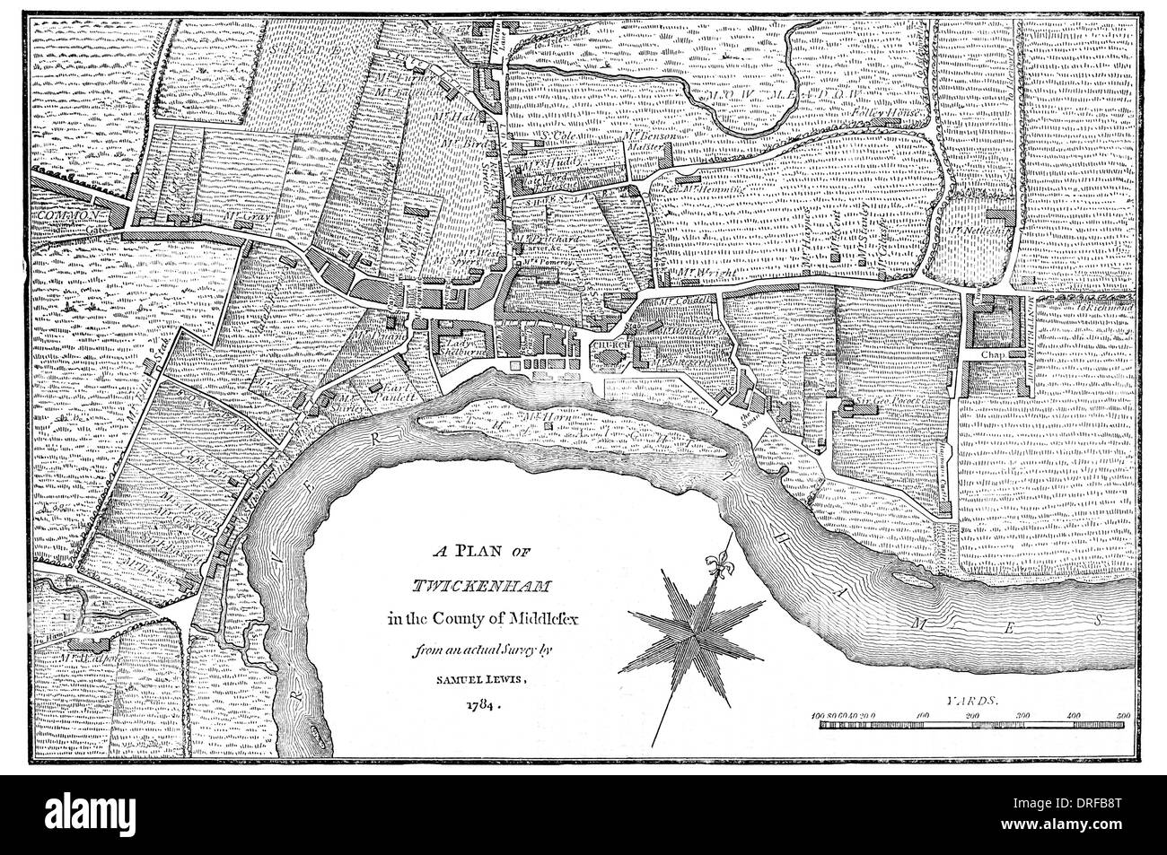 A plan of Twickenham in the County of Middlesex. London From an actual survey by Samuel Lewis 1784 - Stock Image