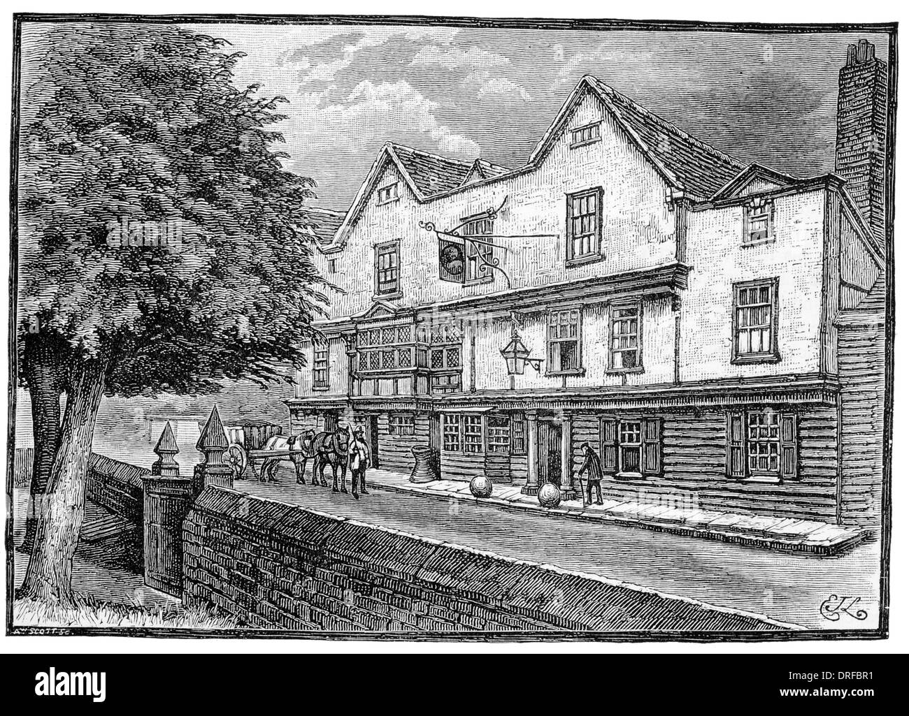 The King's Head Chigwell civil parish Epping Forest district of Essex London circa 1880 - Stock Image