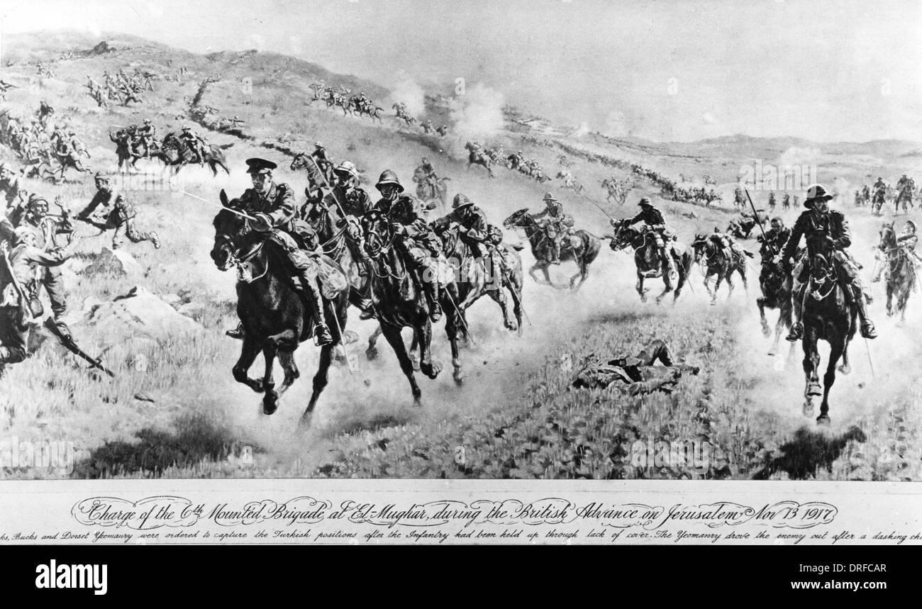 Charge of the mounted brigade at El-Mughar, 1917 - Stock Image