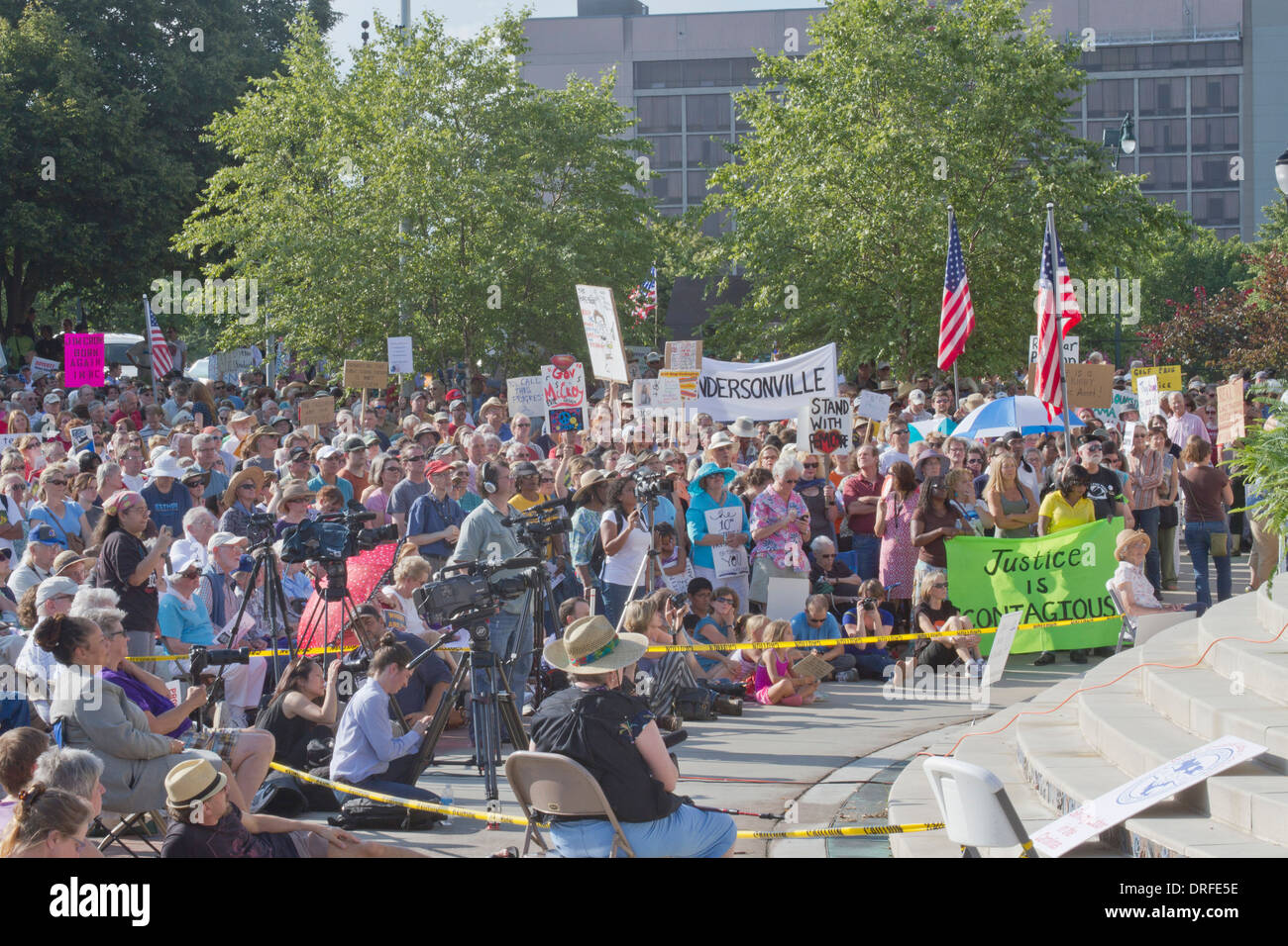Asheville, North Carolina, USA - August 5, 2013:  Political rally against North Carolina GOP politics and legislation - Stock Image