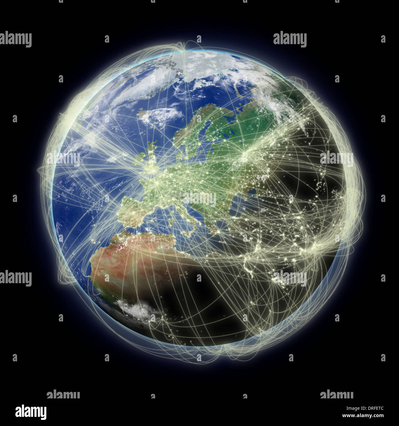 Network of flight paths over Europe on blue planet Earth isolated on black background. Highly detailed planet surface. Elements of this image furnished by NASA. - Stock Image