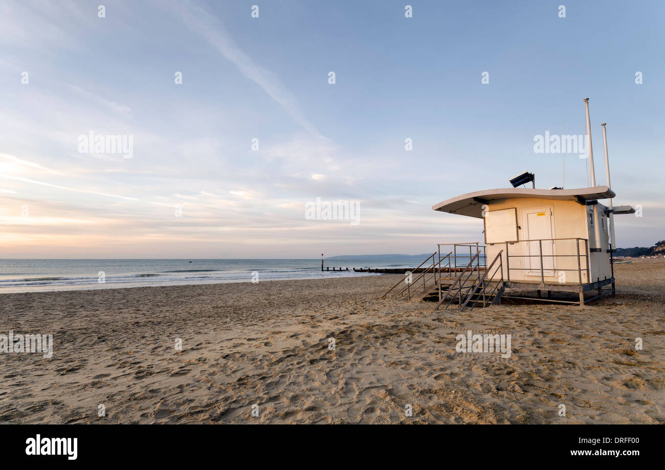 Lifeguard station on Bournemouth beach at Durley Chine. - Stock Image
