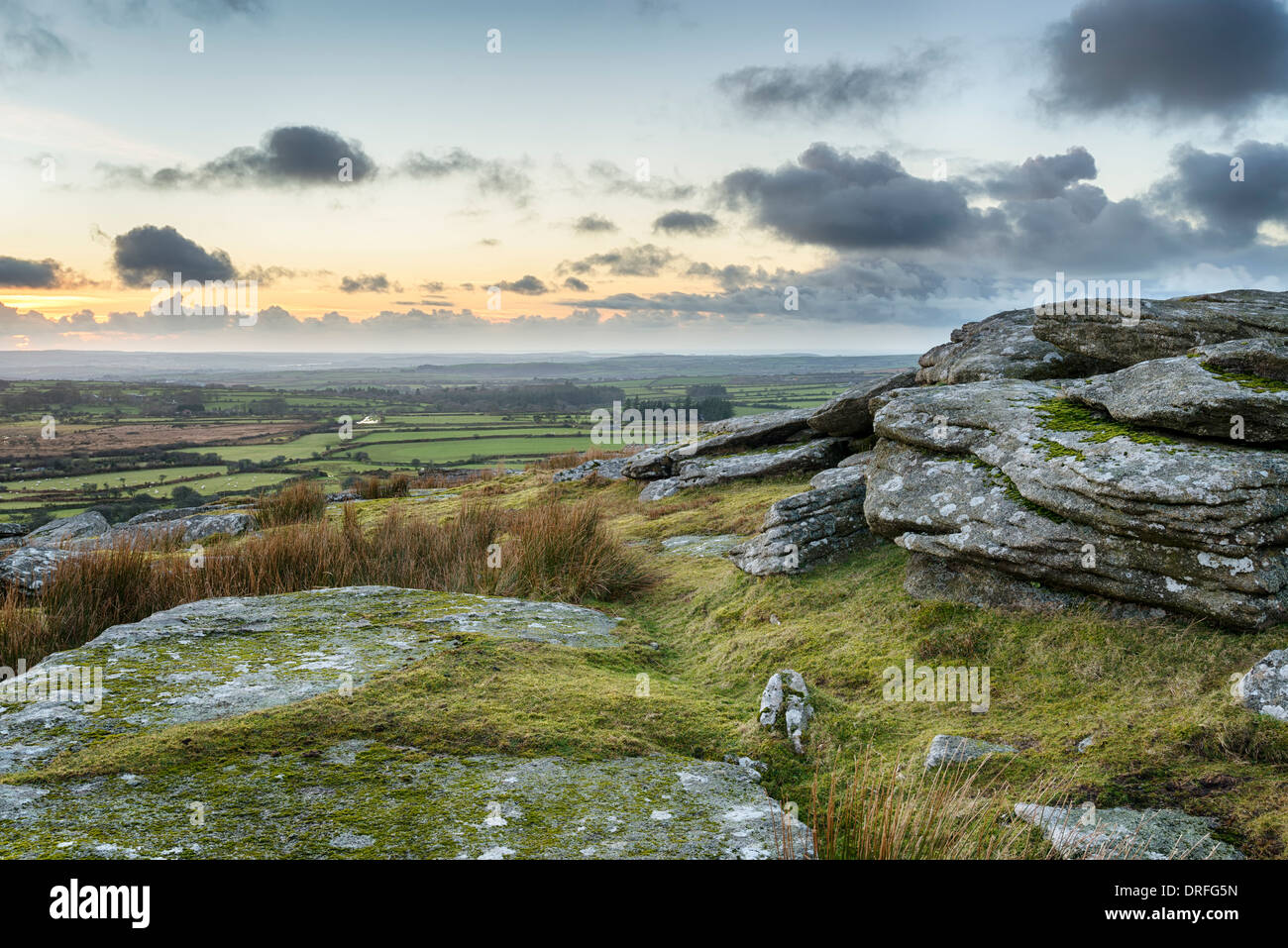 Dusk at Alex Tor on Bodmin Moor near St Breward in Cornwall - Stock Image