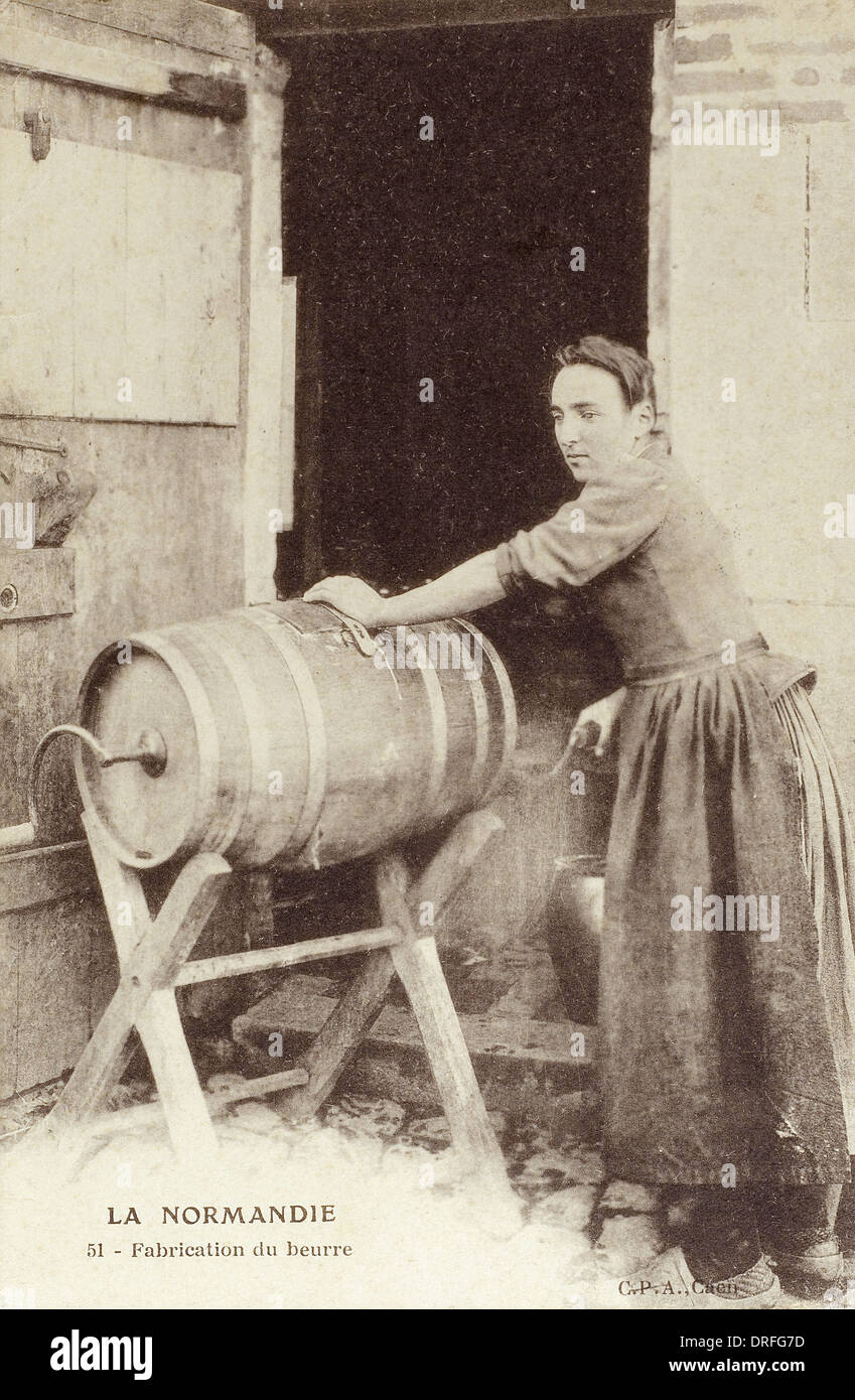 Churning Butter - Normandy, France - Stock Image