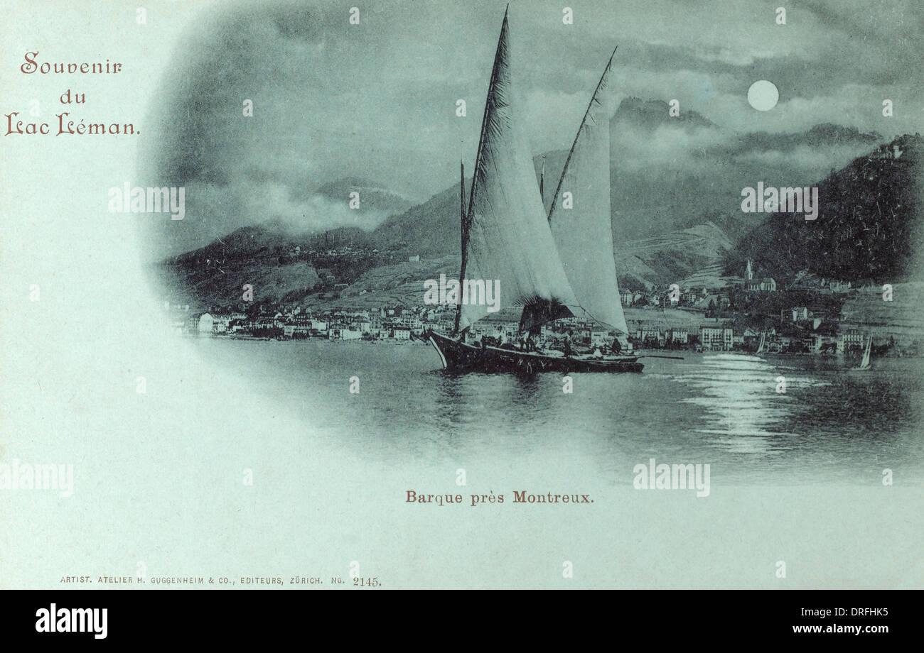 Switzerland - Lac Leman (Lake Geneva) - Barque - Stock Image
