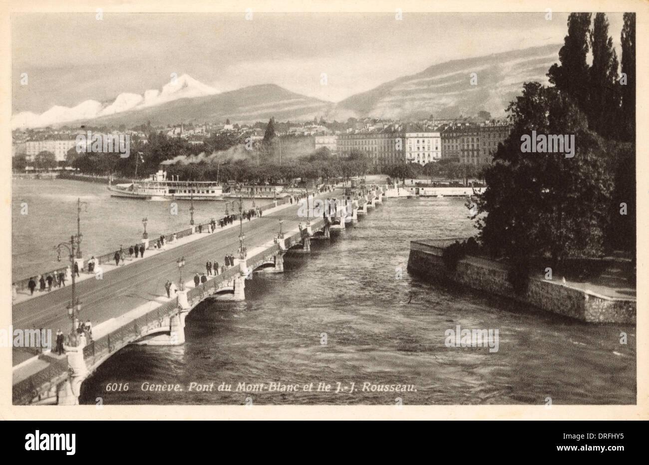 Mont Blanc Bridge, Geneva, Switzerland - Stock Image
