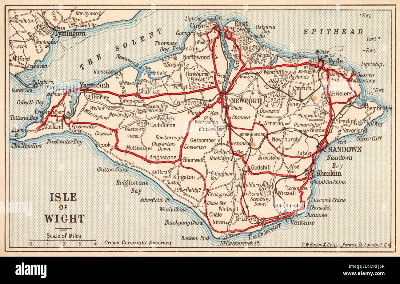 Map of the Isle of Wight - Stock Image