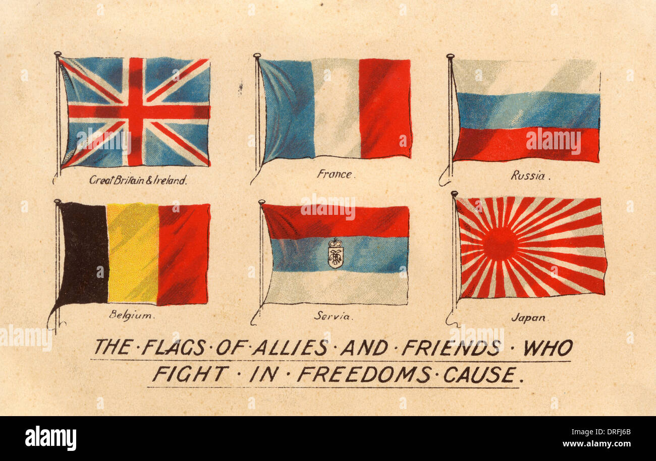 Flags of the Allied countries during WWI - Stock Image