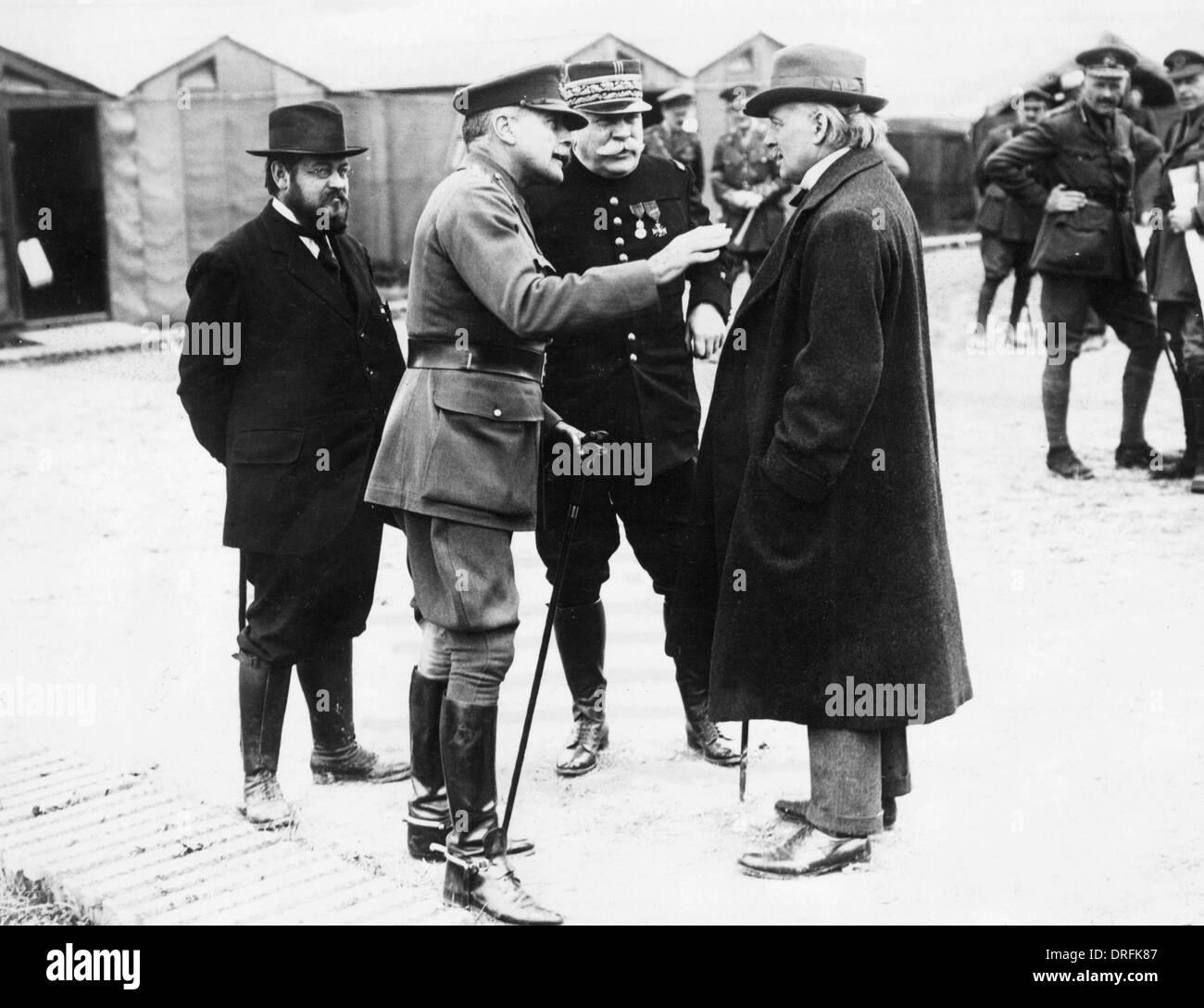 Lloyd George, General Haig, General Joffre, France - Stock Image