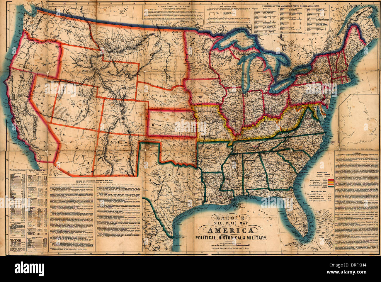 Bacon's steel plate map of America, political, historical & military on