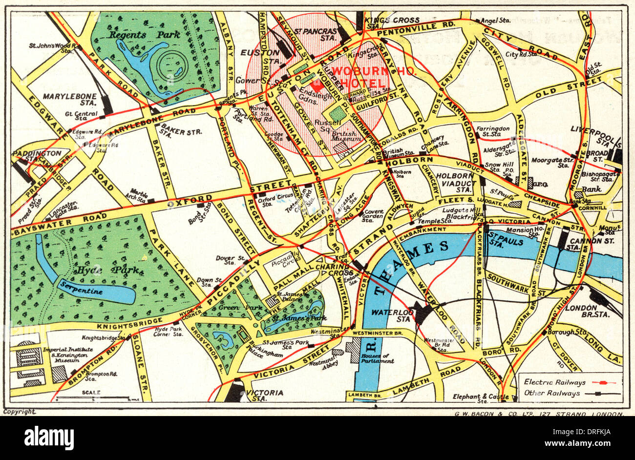 Map of Central London with Woburn House Hotel marked - Stock Image