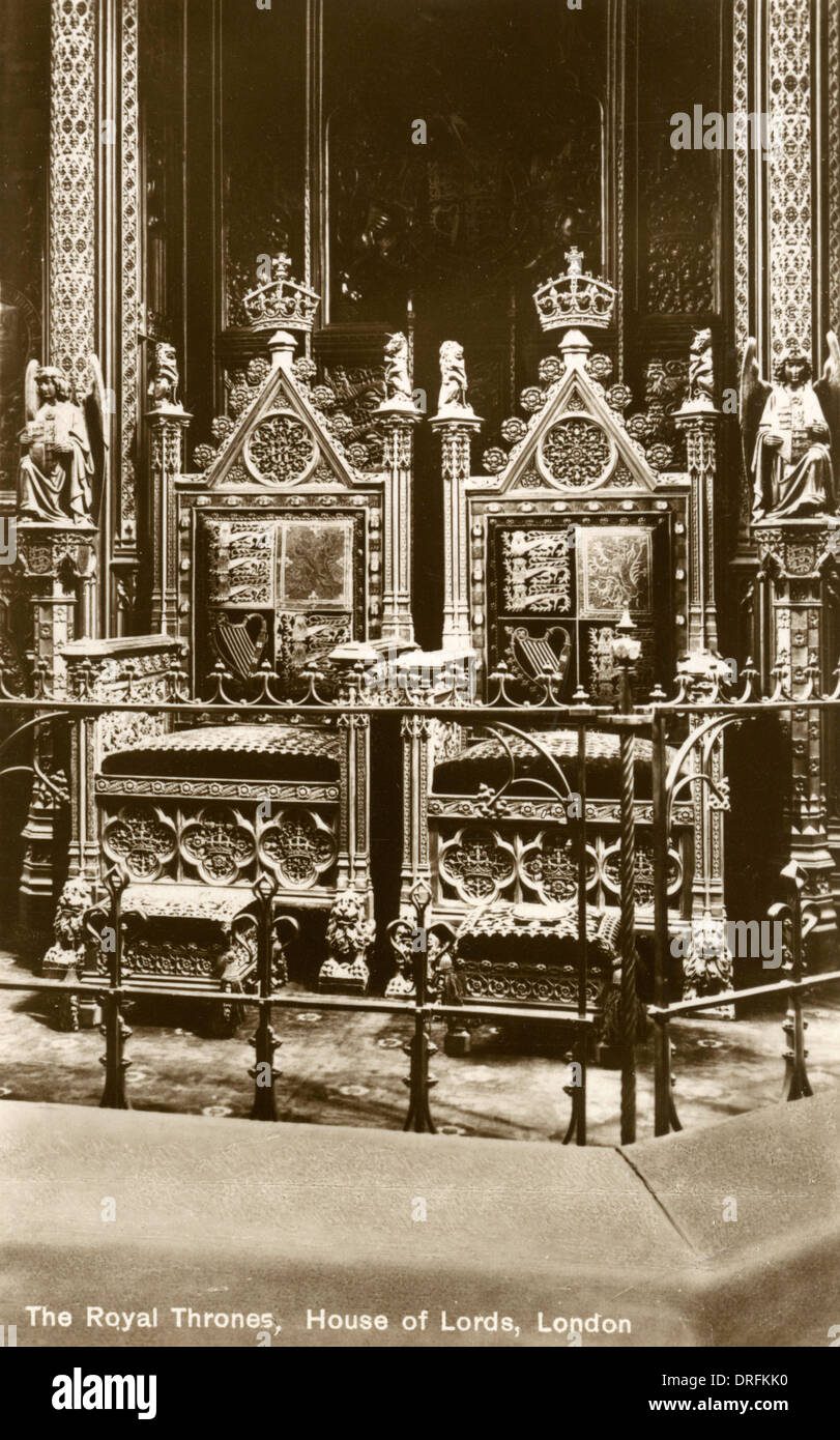The Royal Thrones, House of Lords, London - Stock Image