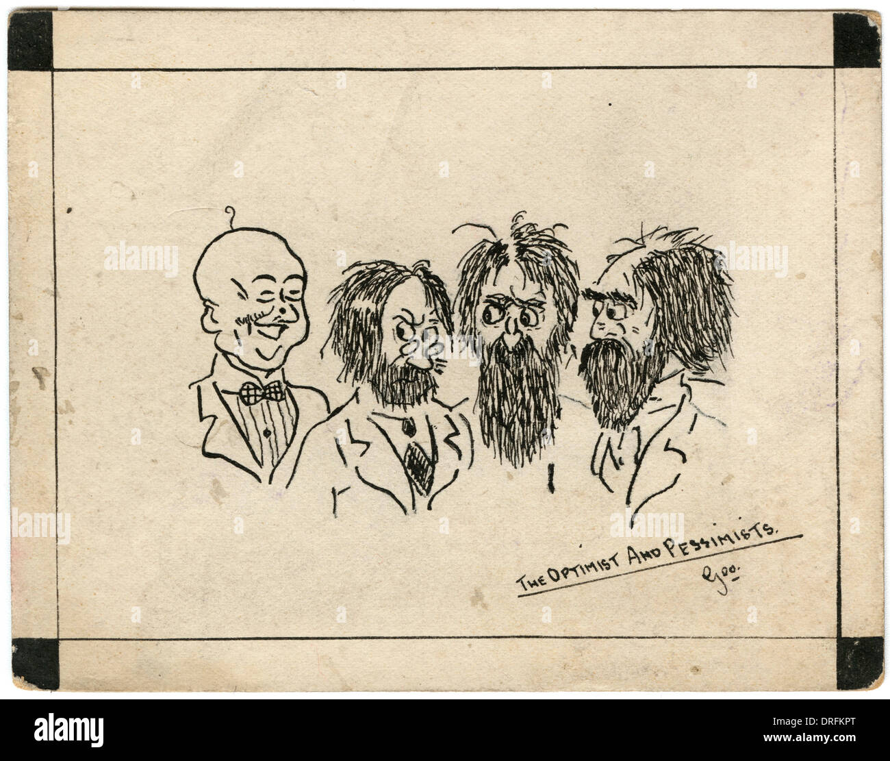 Optimist and pessimists - postcard by George Ranstead - Stock Image