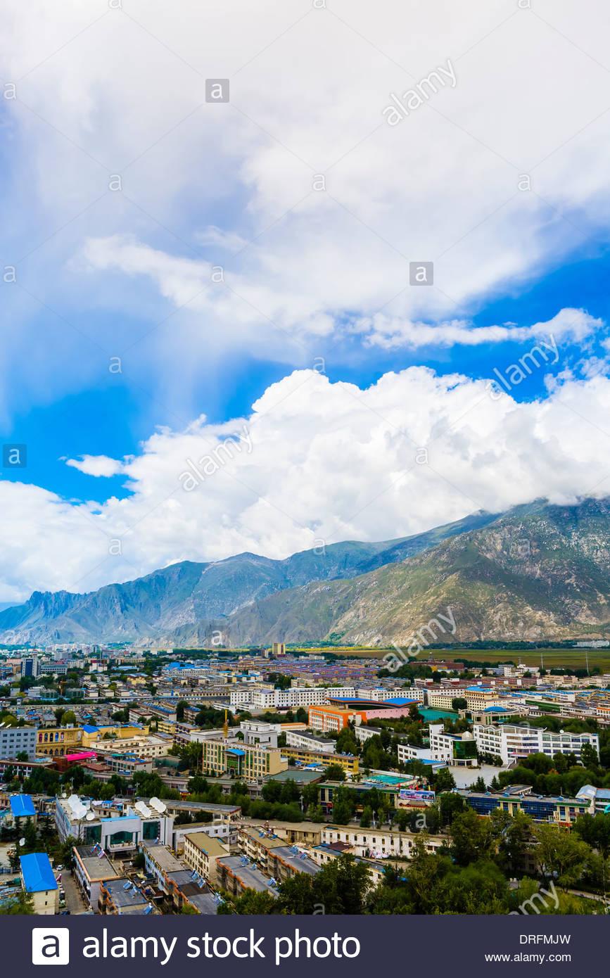 Cityscape, Lhasa, Tibet (Xizang), China. - Stock Image