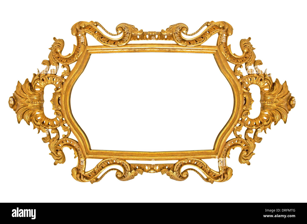 Old Antique Gold Picture Frame Wall Wallpaper Decorative Objects Isolated White Background