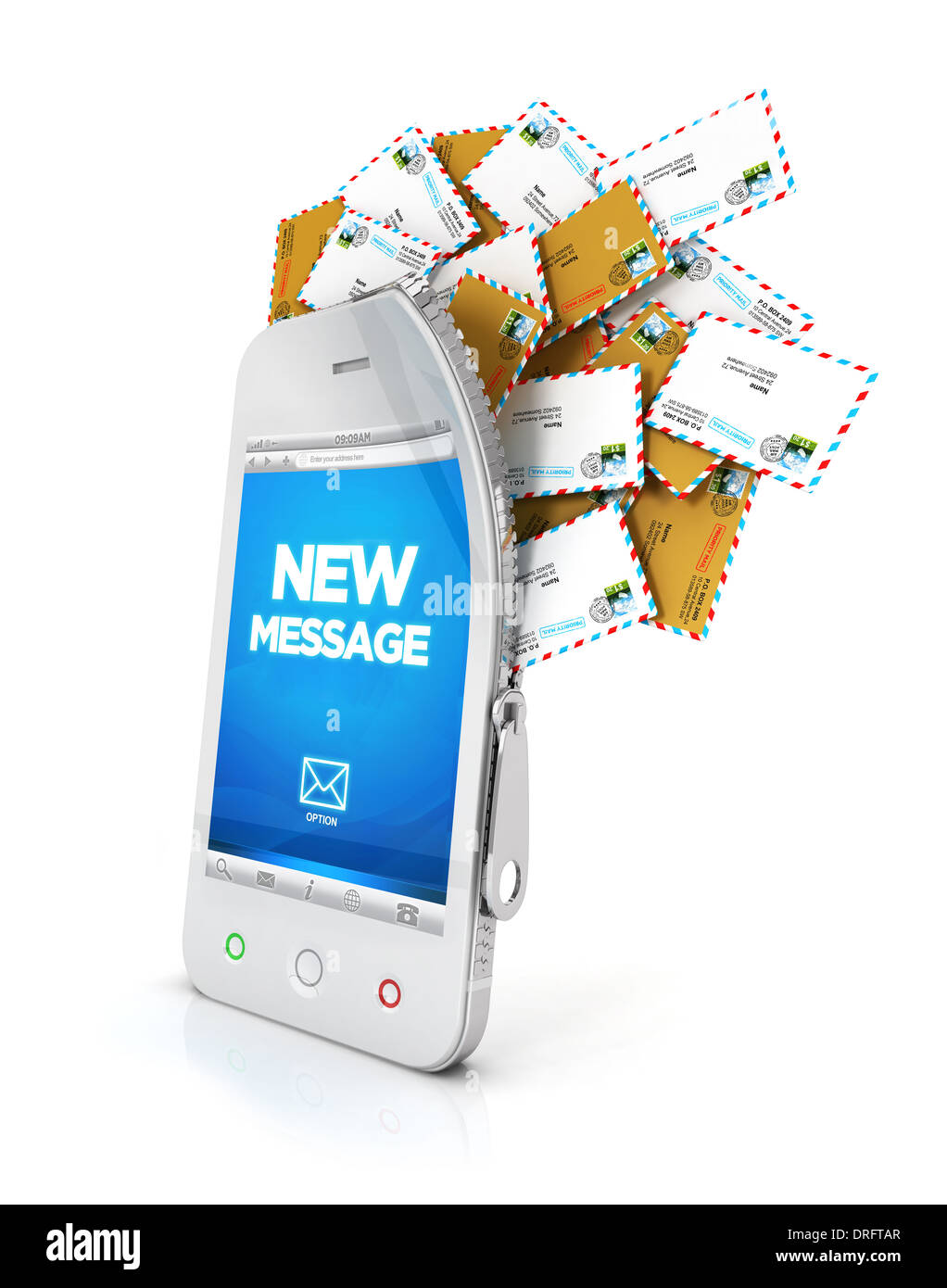3d smartphone with cloud of messages, isolated white background, 3d image Stock Photo