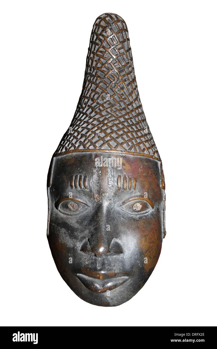 Brass Head Of Queen Mother, Benin (Edo Empire), Nigeria - Stock Image