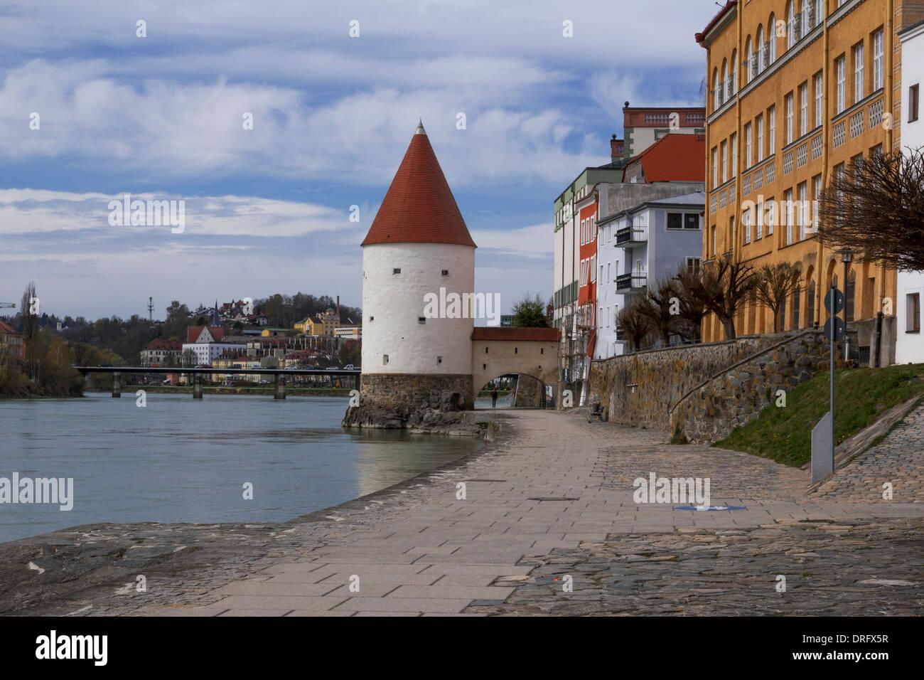 Innweg in Passau Stock Photo