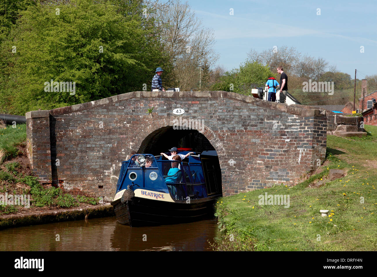 Cheddleton Caldon narrowboat canal lock - Stock Image