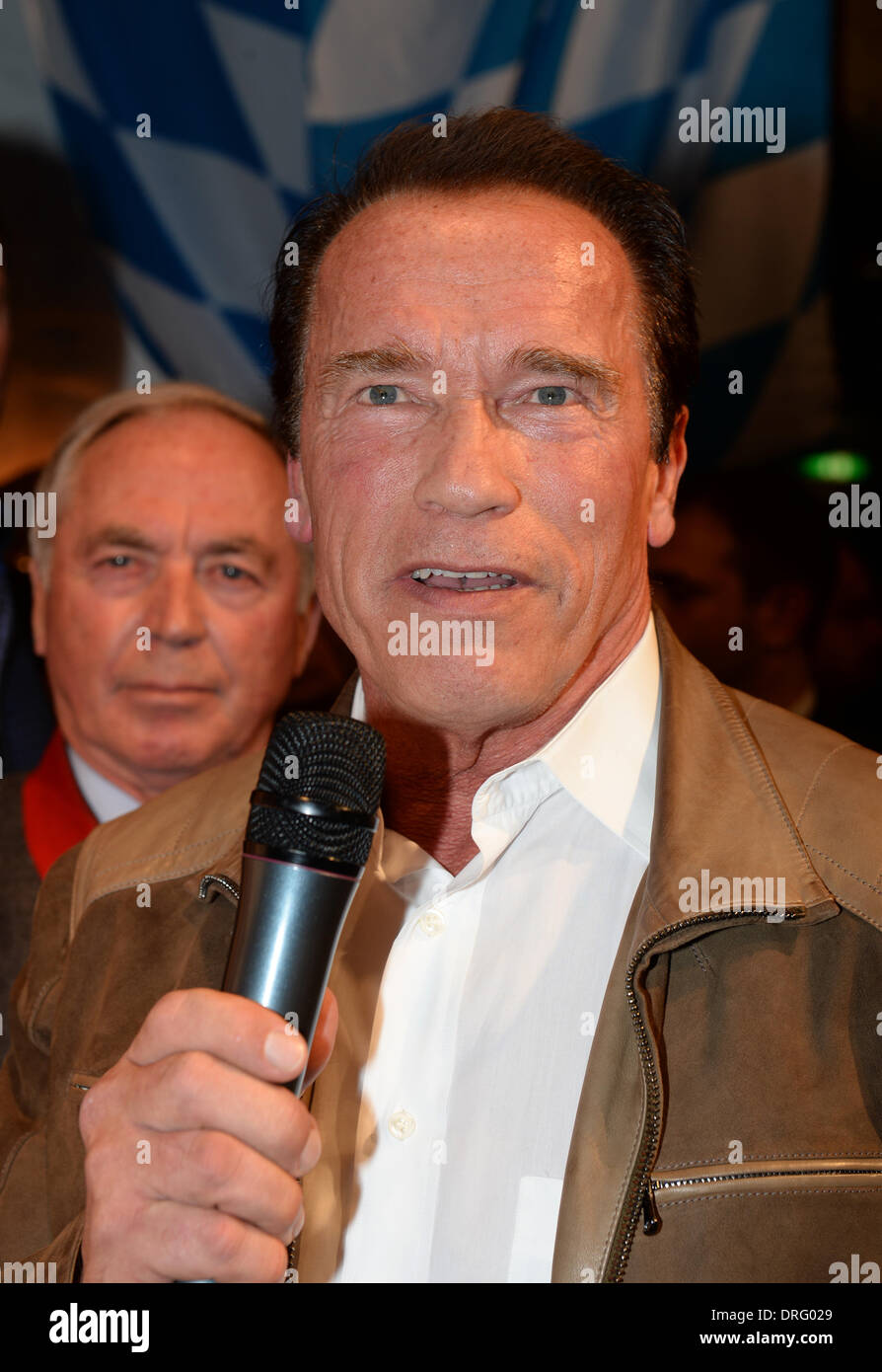 Kitzbuehel, Austria. 24th Jan, 2014. Former US governor and Hollywood actor Arnold Schwarzenegger poses the Bavarian veal sausage party in the Stanglwirt bar near Kitzbuehel, Austria, 24 January 2014. Many celebrities came for the annual Austrian downhill ski race Hahnenkamm race in worldfamous skiing location. Photo: Felix Hoerhager/dpa/Alamy Live News - Stock Image
