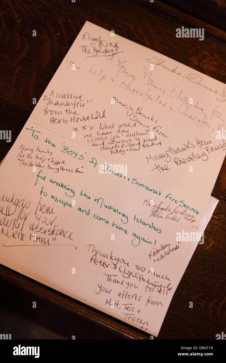 Muchelney Somerset Uk 25th January 2014 A Thank You Card In The
