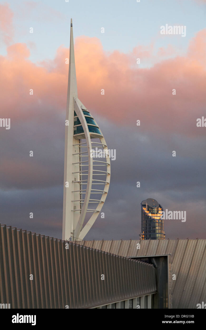 "Portsmouth Spinnaker Tower and ""The lipstick tower"" at Portsmouth at dusk in January at Portsmouth, Hampshire UK Stock Photo"