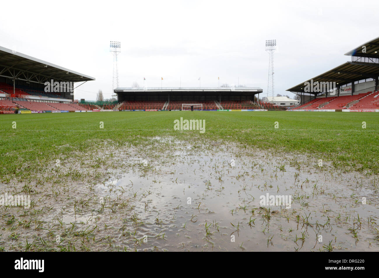 Wrexham, Wales, UK. 25th January 2014. The Skrill Conference Premier fixture between Wrexham and Grimsby Town on Saturday 25th January 2014 was postponed due to a waterlogged pitch. Credit:  Russell Hart/Alamy Live News - Stock Image