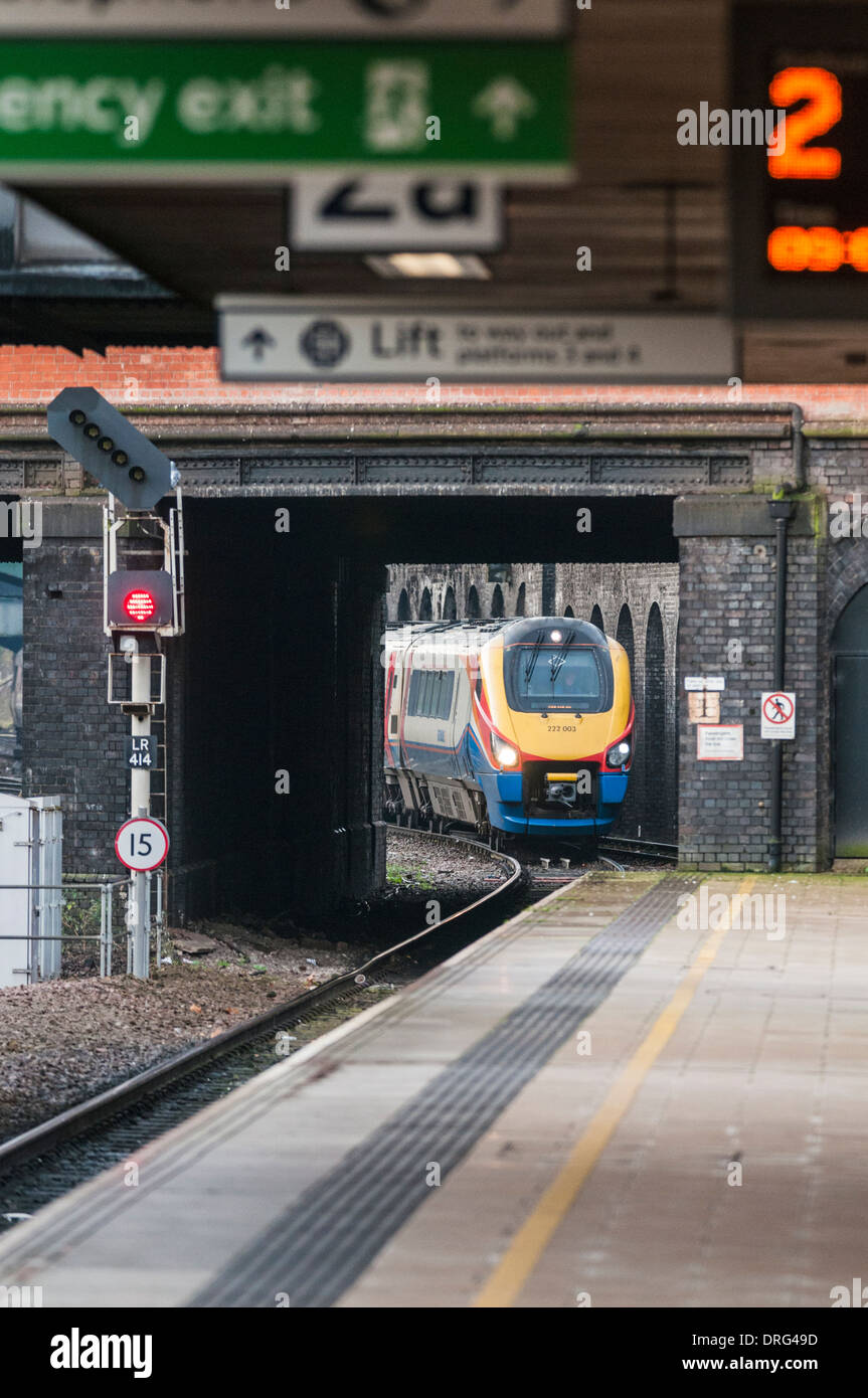 East Midlands Trains Meridian passenger train approaching Leicester station with a service bound for Sheffield - Stock Image