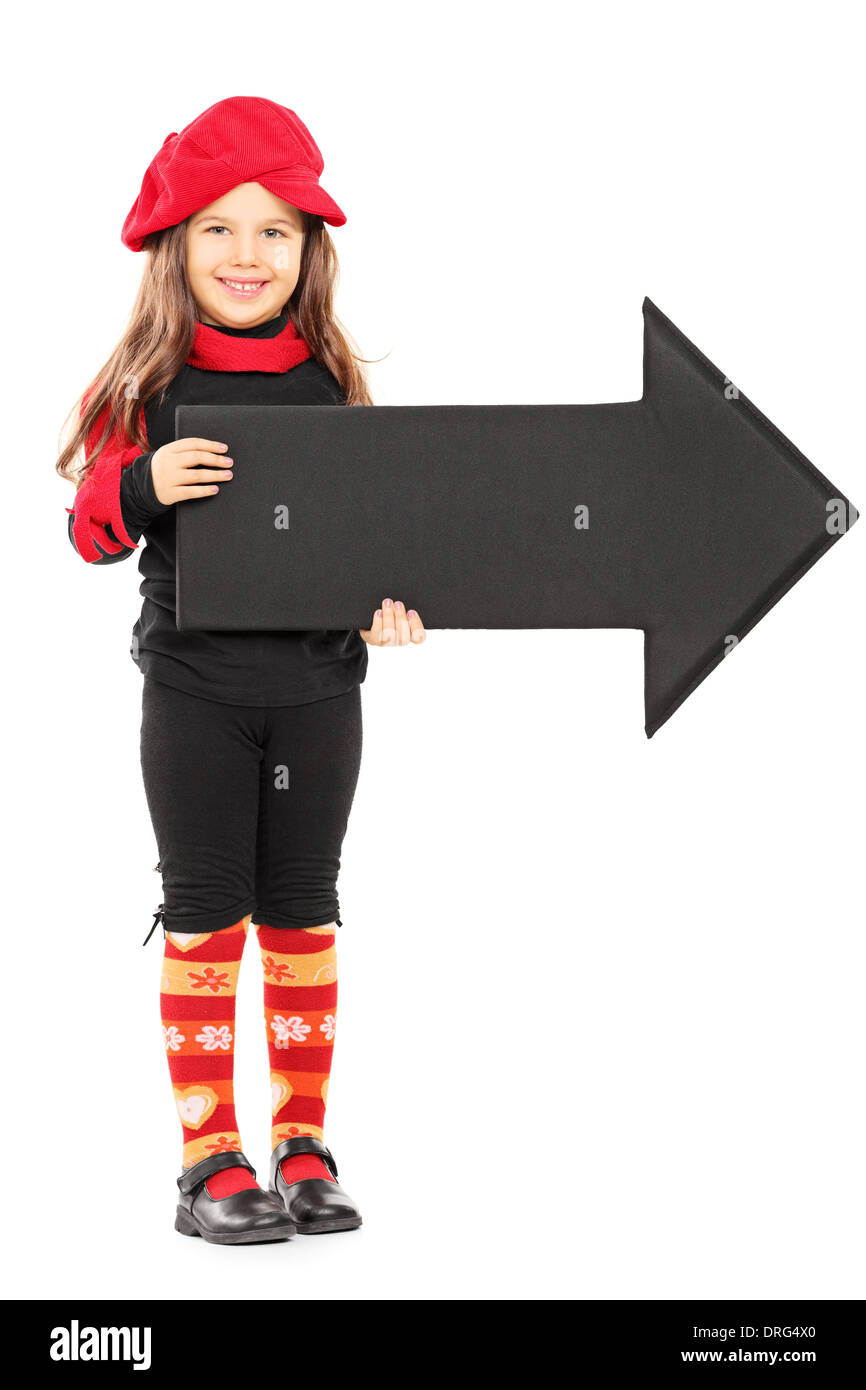 d36c7c975eb Full length portrait of a cute little girl wearing red beret and holding  big black arrow